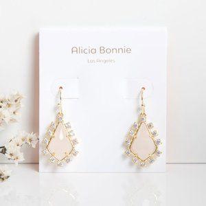 Alicia Bonnie Pink Quartz CZ Gold Thetis Earrings